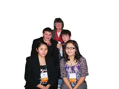 Submitted Photo<br> Front row left to right are Hannah Clark, and Ariel John; second row from left are Adryan Fulton and Ben Nafziger; and, third wow, Mrs. Susan Nafziger, Advisor.