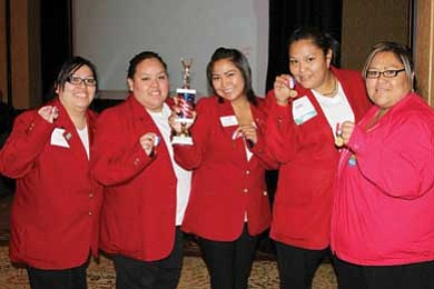 The quiz bowl team of Candace Perry, Kami Morgan, Dellynn Wilson, Sharon Cooley, Sheena Begay took gold at the SkillsUSA state competition in Albuquerque, N.M. They will next compete at the national conference this summer in Kansas City, Mo.