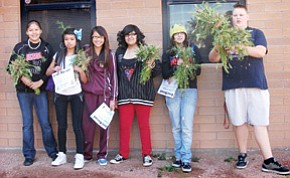 Jail-A-Thon arrestees clean up weeds at Winslow High School to pay their bail.