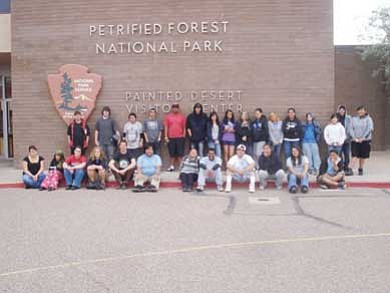 Northern Arizona Academy students take a break in front of the Petrified Forest Visitor Center. <i>Submitted photo</i>