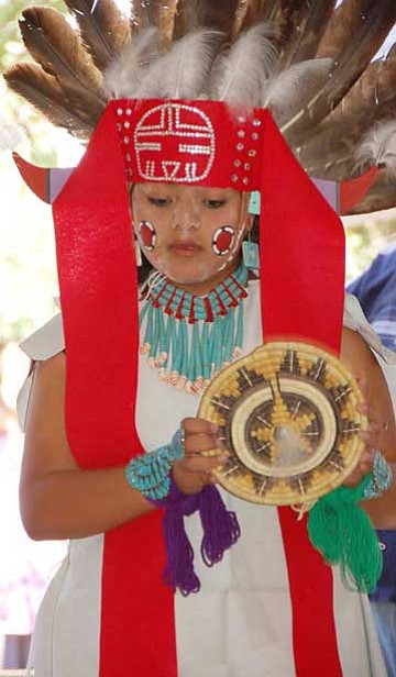 Alycia Honawa of the Nuvatukya'ovi Sinom Dance Group performs during a past Hopi show. <i>Photo/Michelle Mountain</i>