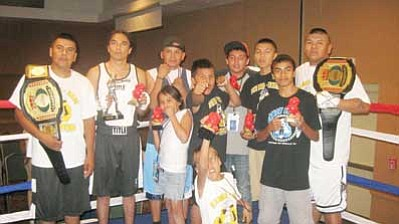 The Damon-Boxing Team shows off their rewards following the Native American Amateur Boxing Championships at the Apache Gold Casino and Resort in San Carlos, Ariz. Submitted photo
