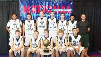 The Flagstaff AAU High Altitude Hoops team is (back row from left) Maurice Walton, Justus Rambo, Brett Morrow, Kaleb Hagerman, Mitch Thompson, Kaleb Sandoval, and Coach Matt Poirier. Front row seated is (from left) AJ Brain, Nick Christopher, Bridger Hershey, Kyle Erickson, and Chance Begay. Submitted photo