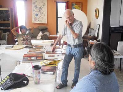 "Master art instructor James McGrath is one of the teachers for the nationally recognized Hopi art school program, Hopitutuqaiki's Summer Arts at Third Mesa. McGrath taught ""Natural Pigments,"" ""Clay"" and ""Art for Kids"" this past June through August. Classes for Hopitutuqaiki had long waiting lists of potential students and is becoming more and more popular as its reputation reaches state and nation-wide recognition for Indian arts development and enhancemen. Rosanda Suetopka Thayer/NHO"