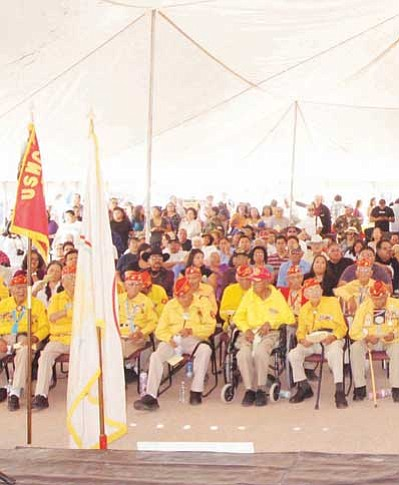 Navajo Code Talkers listen to President Ben Shelly Aug. 14. Submitted photo