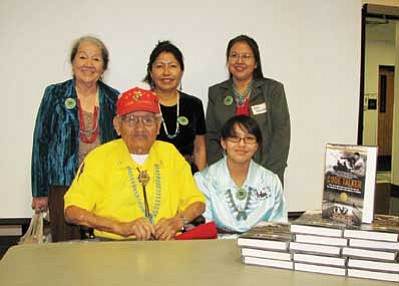 Pictured are (front) Chester Nez, last of the original 29 Code Talkers, Honoree for HeroTwins 2012, and Malorie McKerry, Student Helper, (back) Vivian Arviso, Miss Modern Navajo 1958-59; Shirley Paulson, Miss Navajo 1983-84; and Geraldine Gamble, Miss Navajo 1989-90. Submitted photo