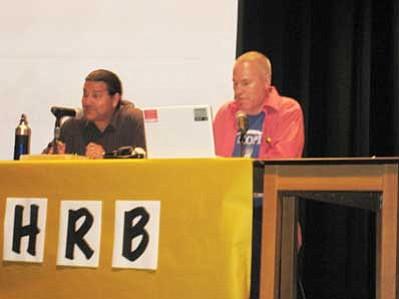 Myles Beam and James Olsen talk about Josten's Renaissance Program on a fake Hopi Radio Program. Stan Bindell/NHO