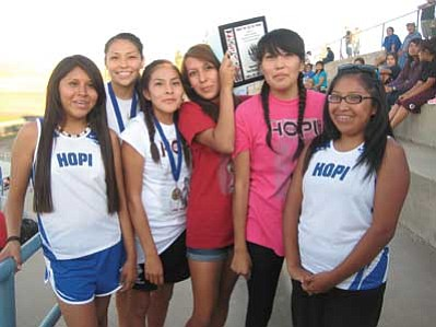 Hopi High girls were all smiles after taking first at Hopi High Invite. Stan Bindell
