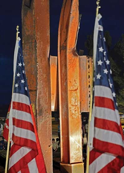 Columns from the destruction of the World Trade Center in 2001 are on display at a new park in Winslow. The community of Winslow gathered on Sept. 11 in remembrance of 9-11.