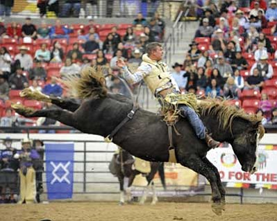 A contestant hangs on tight during a previous Indian National Finals Rodeo. Submitted photo