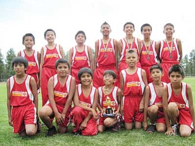 The Tuba City Boarding School Thunderbird Cross Country Boys Team includes Keanu Arizona, Terrell Arizona, Bendrew Atokuku, Ronson Begay, David Butler, Loren Dallas, Kaden Granger, Andre Melendrez, Jaiden Melendrez, Stade Riggs, DayShawn Salaba, Raymond Smiley, Kai Tsosie, and Chad Williams. <i>Submitted photo</i>