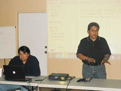 Former Hopi Chairman and CEO of Kiva Institute Ben Nuvamsa (left) along with attorney and former Hopi Tribal Chief Judge Gary LaRance conduct a workshop Oct. 12 in Tewa Village on the basics of Hopi government and an in-depth look at the Hopi Constitution. Photo Rosanda Suetopka Thayer