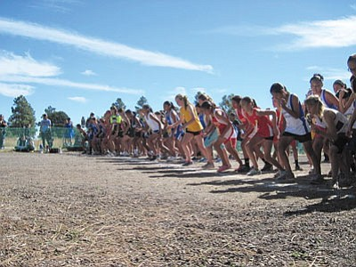 Runners line up at the start of the JV girls race at Buffalo Park Oct. 20. Submitted photo