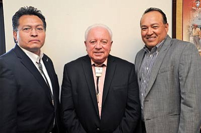 From left: Navajo Nation Gaming Enterprise CFO Derrick Watchman, Navajo Nation Gaming Enterprise CEO Bob Winter and NNGE Board Chair Quincy Natay. Submitted photo