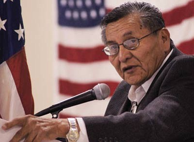 Navajo Nation President Ben Shelly addresses graduates of the U.S. Environmental Protection Agency (EPA) Superfund Job Training Initiative Dec. 4. Submitted photo