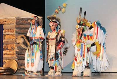 Hampton, Theron and Preston Olney showcase their dancing skills at Indian Wells Elementary School's Native American Night Nov. 29. Submitted photo