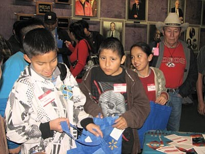 Navajo youth register for a previous Hero Twins in Modern Navajo Society Workshop. This year's Hero Twins Workshop takes place Feb. 2 in Farmington, N.M. Photo/Colleen Keane