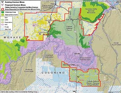A map of the Arizona Strip shows existing and proposed uranium mines near the Grand Canyon. Graphic/Grand Canyon Trust