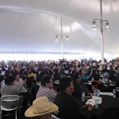 Around 1,000 people including Navajo Nation officials, visiting tribal dignitaries, tribal community members and representatives from both state, county and tribal judicial services attend the grand opening of the Western Agency Diné Justive Center in Tuba City Feb. 15. Rosanda Suetopka Thayer/NHO
