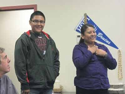 Detroit James and Lucille Sidney talk about the Close Up program at the March 19 Hopi Jr./Sr. High Governing Board meeting. Photo/Stan Bindell