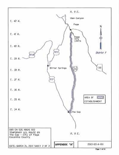 The proposed Navajo Route 20 detour. Photo/ADOT