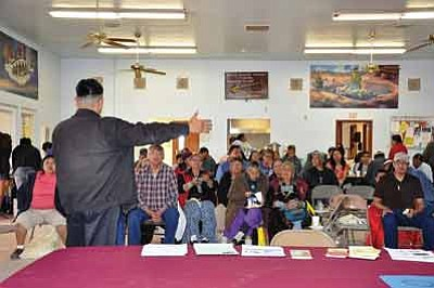 Franklin Tohannie talks about the history of the Navajo diet and how it has changed through the years during a nutrition conference at Tuba City Chapter House March 22. Submitted photo