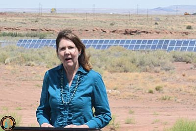 Representative Ann Kirkpatrick (Ariz.-1st Congressional District) talks at a recent ribbon cutting for the newly completed Navajo County Solar Facility in Holbrook, Ariz.  According to recent estimates, the solar array provides 80 percent of the current electrical needs for the Navajo County Complex and County Jail in Holbrook. Submitted photo