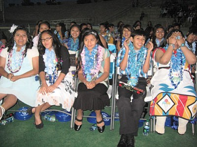 Hopi Junior High students wait for their promotion. Photo/Stan Bindell