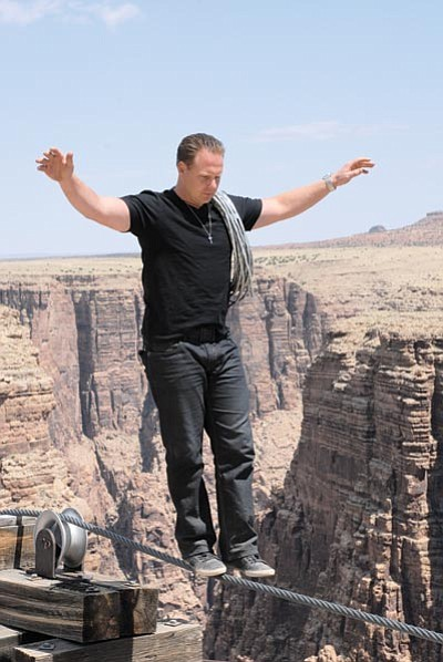 Wallenda practices his balance at Little Colorado River Navajo Tribal Park in May.