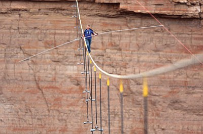Nik Wallenda traverses the Little Colorado River Gourge without a harness June 23. Photo/Discovery Channel/T. Brown and Gilles
