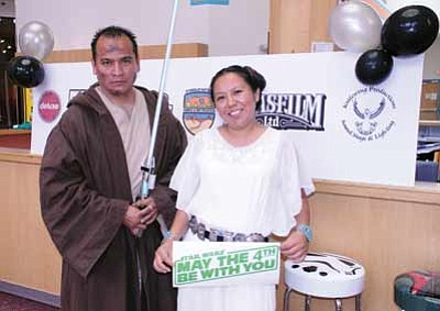 Derrick Franklin and Tisha Shurley both dress as their character as they audition for Navajo Star Wars May 4 at the Navajo Nation Museum. Photo/Geri Hongeva-Camarillo, Navajo Parks and Recreation