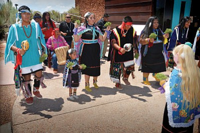 Dustin Kee leads the Perry Sehongya Dancers at Homolovi State Park during Suvoyuki Day Aug. 3. Todd Roth/NHO