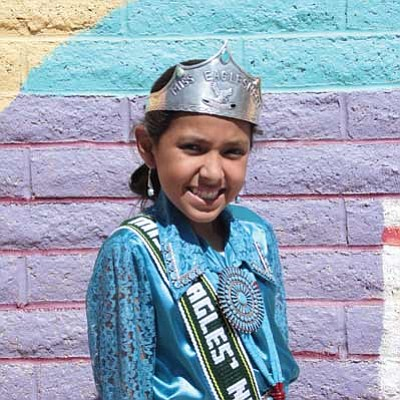 Nanibaa Sischillie, a sixth grade student at the Eagles Nest Intermediate School (ENIS), wears the 2013-14 ENIS Princess crown with pride.  Photo/Rosanda Suetopka Thayer