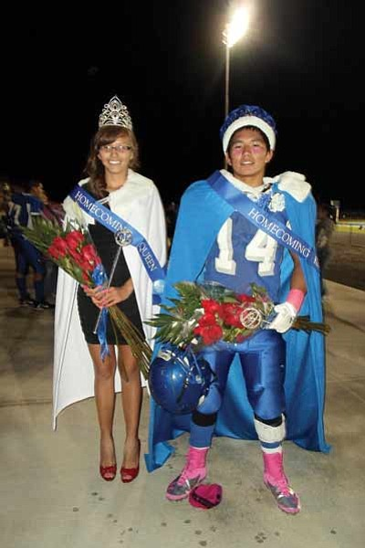 Homecoming Queen Kira Beaudette and Homecoming King Blake Sekaquaptewat. Photo/Stan Bindell