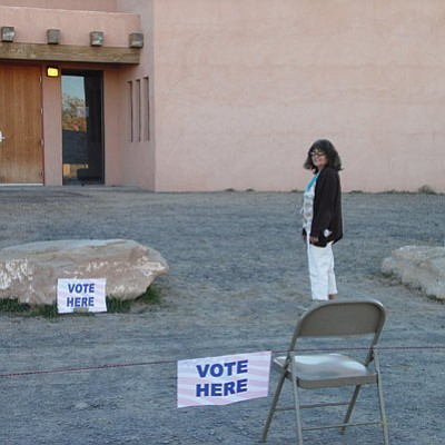 Hotevilla resident Maxine Selestewa goes to the polling place in Hotevilla  to vote in the Nov. 6 Hopi primary election. Photo/Rosanda Suetopka Thayer