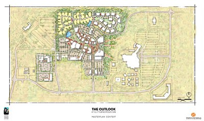 A conceptual drawing of planned expansion on 70 acres next to Twin Arrows. Navajo Nation Shopping Centers, Inc. has submitted plans to the Coconino County Planning and Zoning office for a development named The Outlook at Glittering Mountain that could include shopping, theaters, a bowling alley, a video arcade, laser tag, snack bar and indoor mini golf. Photo/Navajo Nation Shopping Centers, Inc.