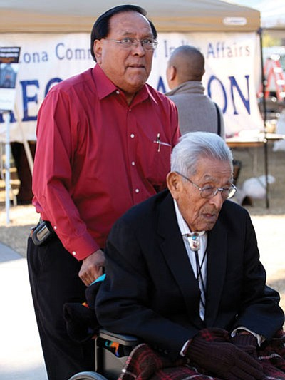 Arthur J. Hubbard Sr. (in wheelchair), a Navajo former state senator, attends a news conference at which lawmakers discussed plans to honor Native Americans who have served in the Arizona State Legislature. Photo/Beth Easterbrook