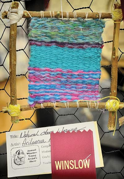 Natural loom weaving (five inches high) by Arileenia Agoodie, seventh grade. Photo/Todd Roth
