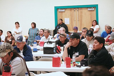 Participants at last year's MAN UP event at the Hopi Veterans Memorial Center in Kykotsmovi, Ariz. listen to health related speakers. Submitted photo