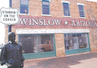 "The corner in Winslow, where prosecutors said John Larsgard drove through a crowd at the town's annual Standin' on the Corner Festival. The park opened in 1999 to commemorate the town's place in the Eagles song ""Take It Easy."" (Cronkite News Service photo by Michelle Price)"