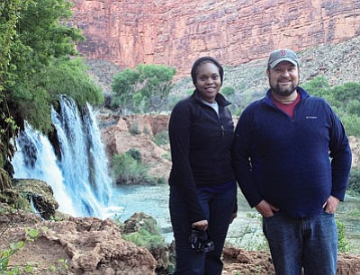 "Williams District Ranger Danelle ""D.D."" Harrison and Tusayan District Ranger James Simino explore Supai. Submitted photo"