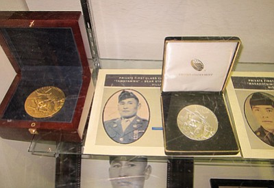 Medals that family members of deceased Code Talkers received at a recent ceremony in Washington D.C. were on display. Katherine Locke/NHO