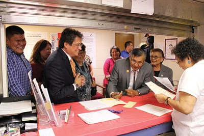 Navajo Nation President Ben Shelly files papers May 16 to run for re-election in the Aug. 26 primary election. Six other candidates have files papers as well. Photo/Rick Abasta
