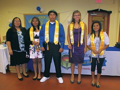 Hopi High National Honor Society Sponsor Lavonne Adams with outgoing seniors Aeon Albert, Blake Sekaquaptewa, Kira Beaudette and Jennee Lomayaktewa. Photo/Stan Bindell