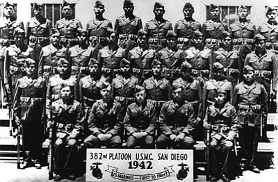 Chester Nez, the last of the original 29 Navajo Code Talkers, died June 4. He is pictured here with the U.S. Marine Corps 382nd Platoon. Submitted photo