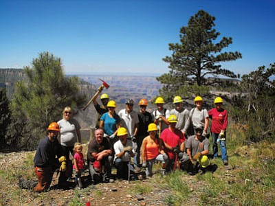 Volunteers from the Memorial Day weekend Rainbow Rim Trail extension project. Cassie Hagemann/U.S. Forest Service, North Kaibab Ranger District, Kaibab National Forest.