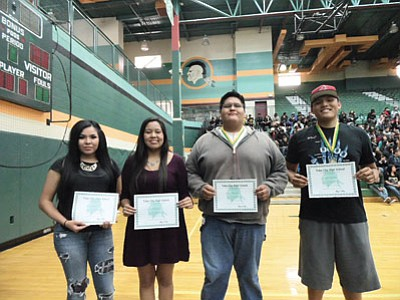 Tuba City High School has five 2014 Gates Millennium Scholars this year. Pictured from left:  Melanie Nez, Pearl Gore, Allen Joe and Tyler Johnson. Not pictured: Kamia Yazzie. The Gates Scholarship is awarded to 1,000 minority students nationally each year. Rosanda Suetopka/NHO