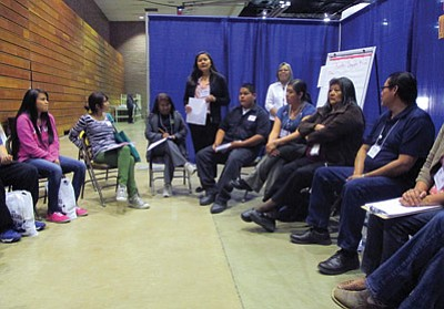 Susan Secakuku leads a session during a recent Hopi Opportunity Youth Initiative gathering. Stan Bindell/NHO