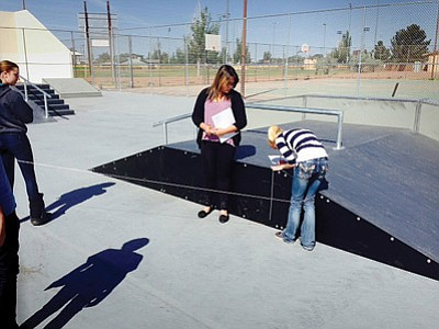 Incoming ninth grade students practice math skills at the Winslow Skate Park. Photo/Winslow High School