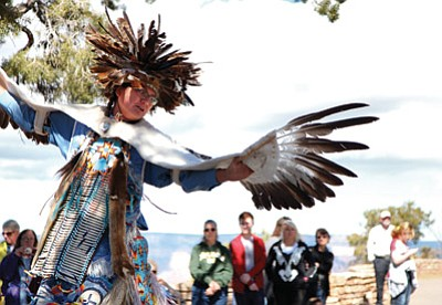 The Pollen Trail Dancers perform in front of Hopi House in Grand Canyon National Park in March. Ryan Williams/NHO